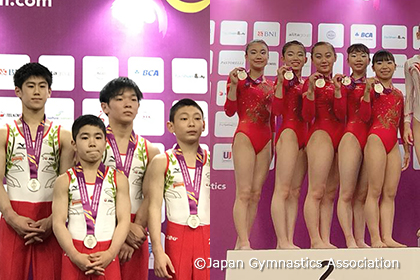 第15回アジアジュニア体操、男女とも団体2位